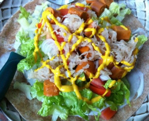 "Quick and easy vegan dinner idea: Open Face ""Hotdog"" Salad Wrap #GoVeganWithJL"
