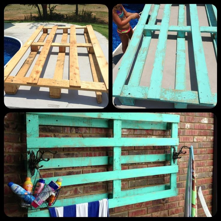 Pool Towel Sign With Hooks: Outdoor Towel Rack Made From A Pallet!