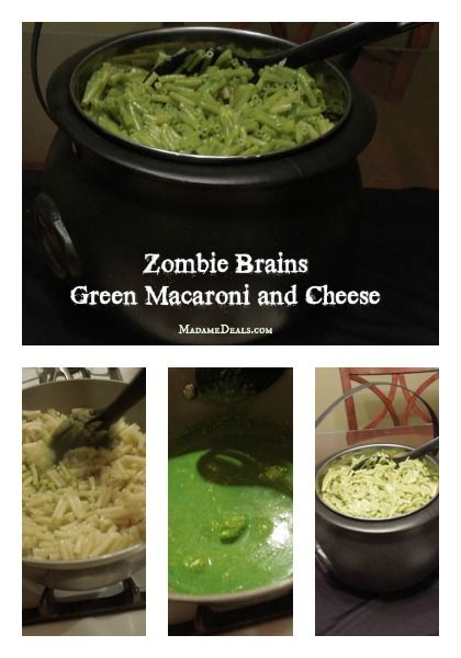 Zombie Brains Halloween Recipe: Green Macaroni and Cheese #halloween #halloweenrecipes