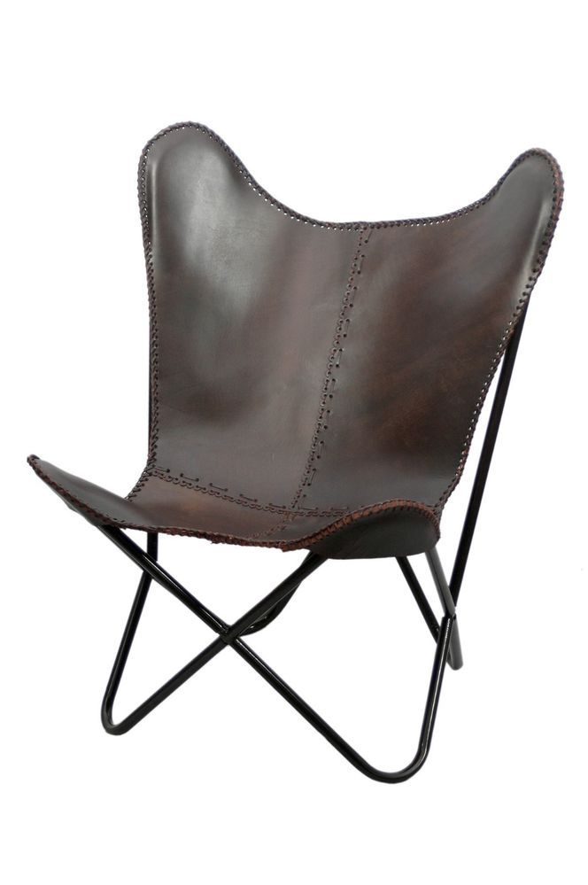 antique brown leather butterfly chair mid century modern sling accent. Black Bedroom Furniture Sets. Home Design Ideas