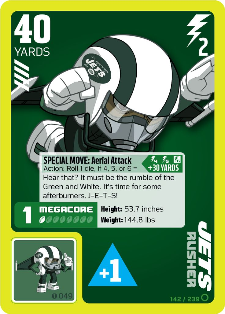 New york jets rusher card from the nfl rush zone trading card game