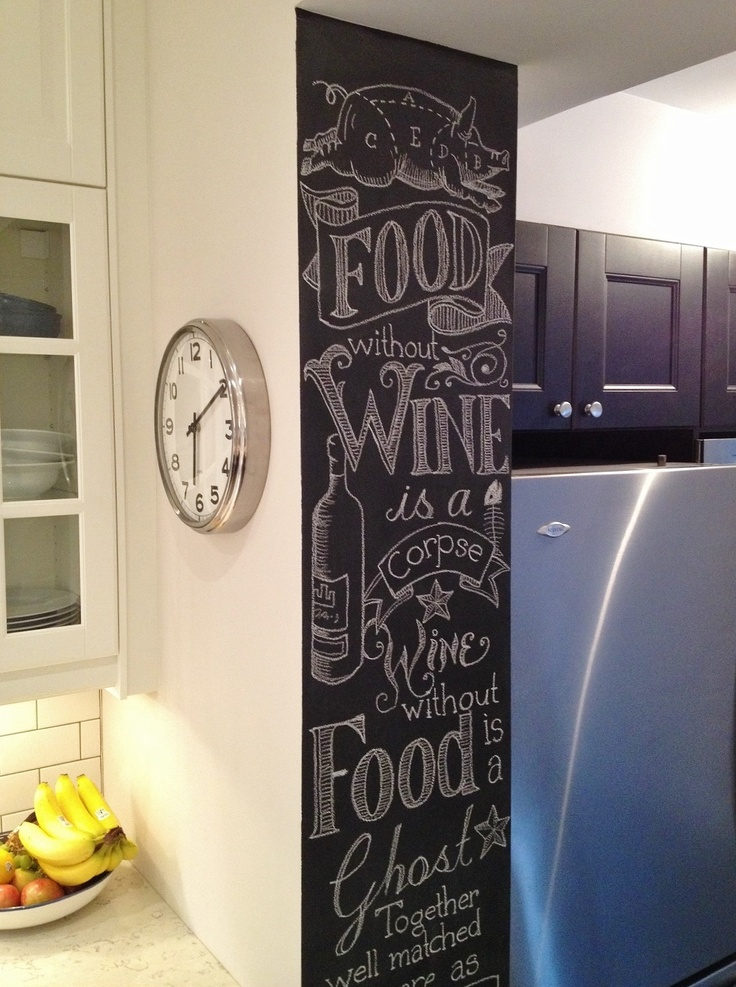 My second attempt at chalkboard art on the wall in our new kitchen