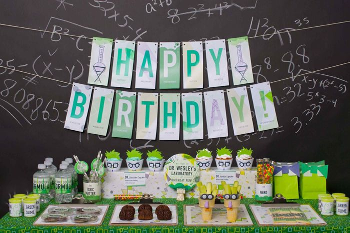 Mad Science Dessert Table Boy Birthday Party - featured on Amy Atlas