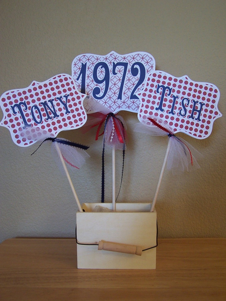 Anniversary centerpiece 50th 40th large picks navy blue for Table decoration 50th birthday