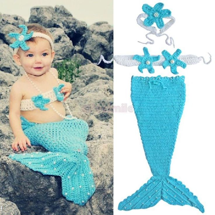 Knitting Pattern For Baby Mermaid Outfit : 3pcs Newborn Baby Girl Pearls Mermaid Tail Costume Outfit Crochet Knit Props ...