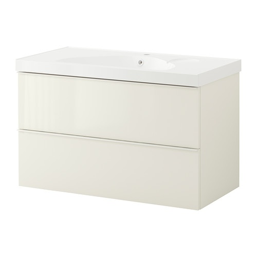 Ikea Kitchen Island Support ~ GODMORGON EDEBOVIKEN Sink cabinet with 2 drawers  high gloss white