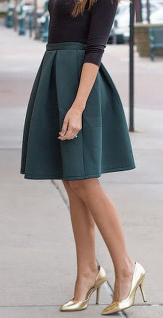 Forest Green Midi Skirt and Gold Christian Louboutin