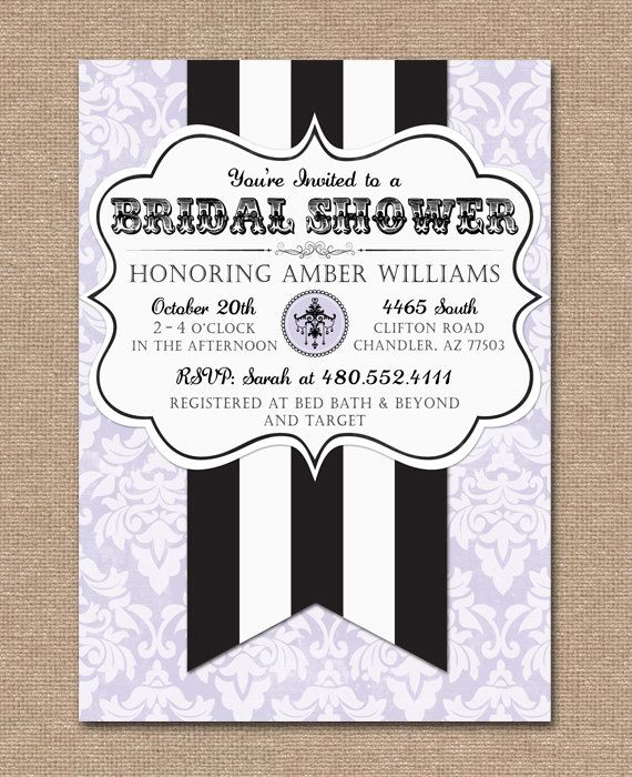 ... BRIDAL SHOWER INVITATION - Chandelier, French, Parisan, Vintage Theme
