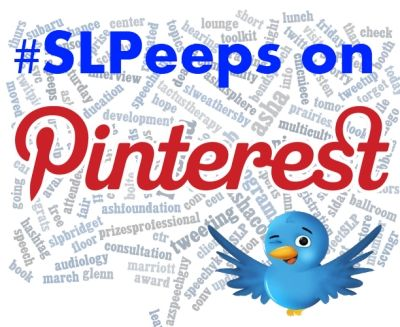 SLPeeps on Pinterest -- If you are an SLPeep on Twitter, Facebook or other social media, please post your Pinterest username (followed by your twitter handle in parenthesis) to the comments below on this pin.  **IMPORTANT** Make sure you add your name to the MASTER SLPeeps pin HERE:  http://pinterest.com/pin/204913851765146561/  -    Don't add your name to a the comments of a repin or you wont be with everyone else!    For more important guidelines and procedures on how we will use this board...