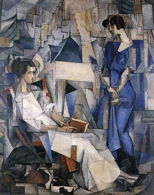 Diego Rivera, A Portrait of Two Women, 1914...unusual style for Rivera