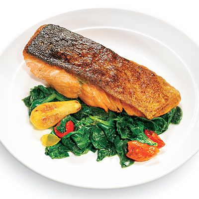 Seared Salmon with Wilted Spinach - 100 Ways to Cook with Salmon ...