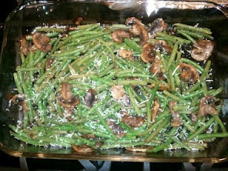 Roasted Green Beans with Mushrooms, Balsamic and Parmesan...OH YUMMY ...