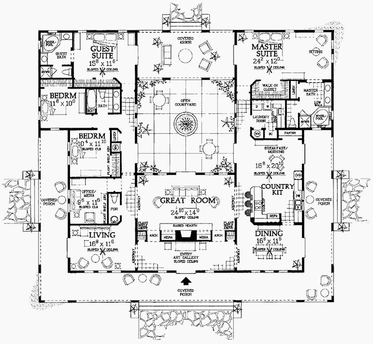 This floor plan can be modified into the spanish style for Compound home designs