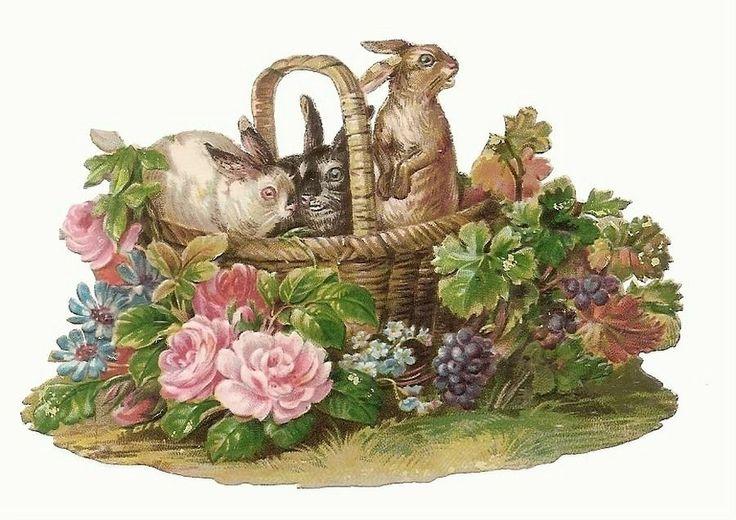 Trois Lapins dans un Panier - - Fleurs - Chromo Decoupi  - Victorian Scrap