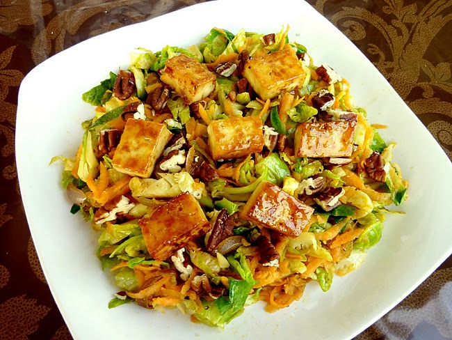 Warm brussels sprouts salad with caramelized tofu