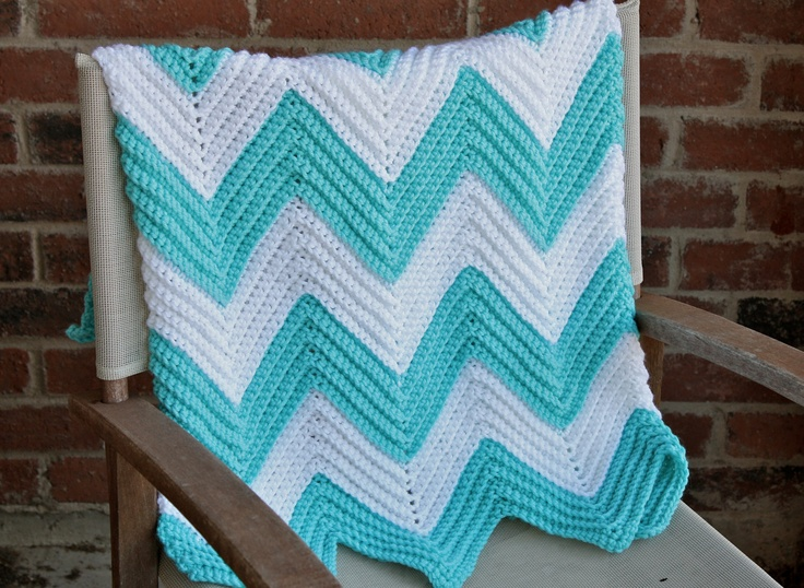 Crochet Patterns Baby Boy Blankets : Crochet Chevron Baby Blanket - Teal and White