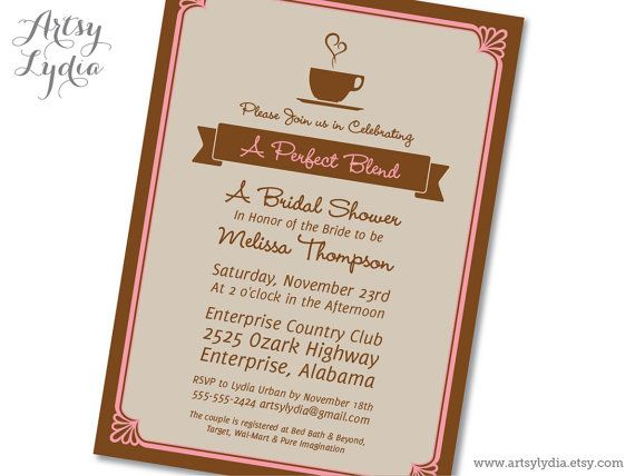 Perfect Blend Coffee Themed Bridal Shower Invitation Printable PDF by ...