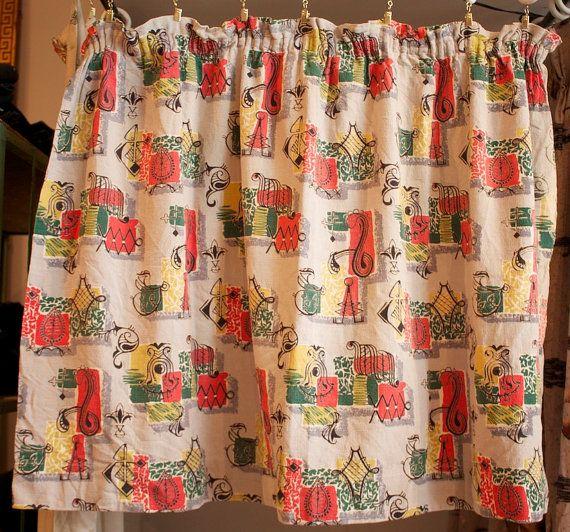 Vintage 1940s / 1950s Barkcloth Curtain Panel by TrueValueVintage, $68.00