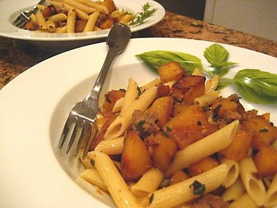 autumn pasta with sausage and butternut squash
