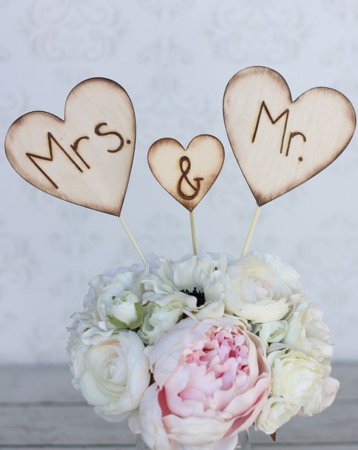 Rustic Wedding Cake Topper Mr And Mrs Engraved Wood Hearts Item E106