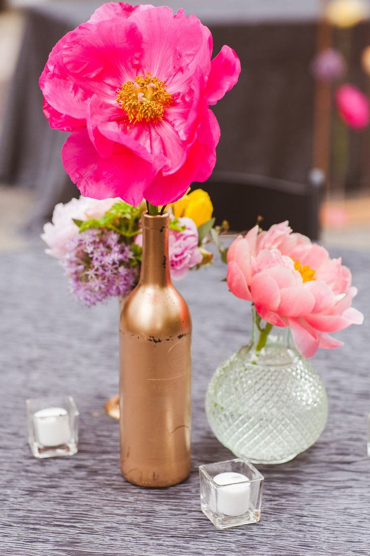 #peony, #vases, #bottles  Photography: White Rabbit Studios - thewhiterabbitstudios.com  Read More: http://www.stylemepretty.com/2013/08/27/birmingham-wedding-from-white-rabbit-studios/