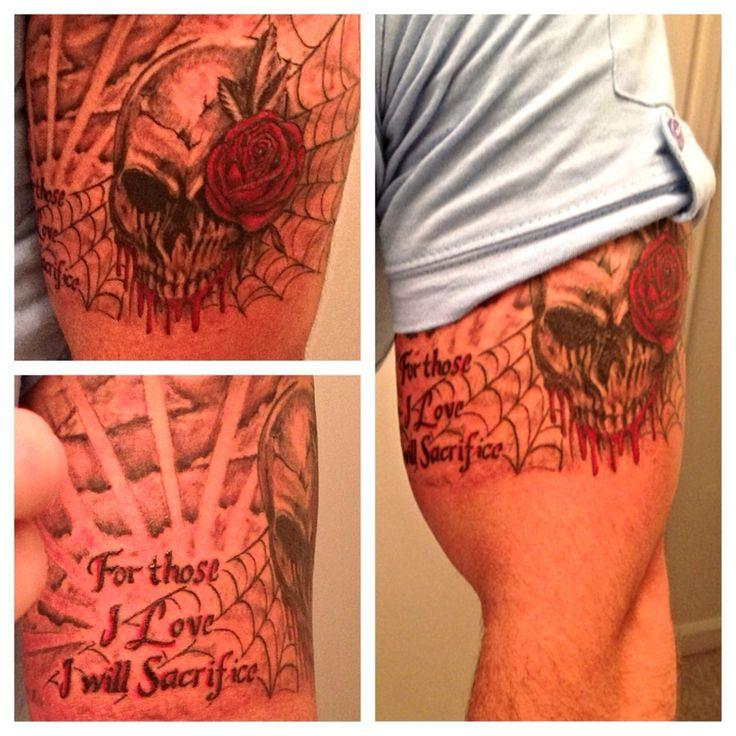 Spider web chest tattoo