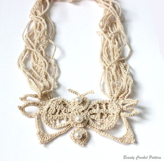 Crochet Patterns Jewelry : Crochet Pattern Butterfly Necklace Crochet Stand Necklace Pattern, Cr ...