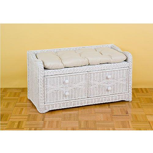 Wicker Storage Bench With Cushion White Kids 39 Teen Rooms Walmar