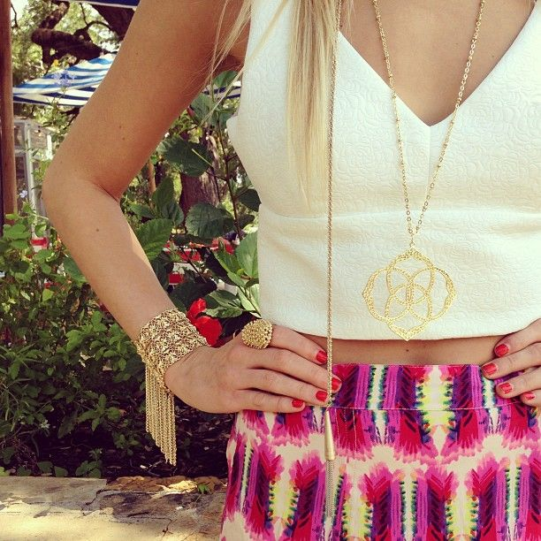our fave way to wear the crop top trend...a touch of skin and loads of color! #kendrascott