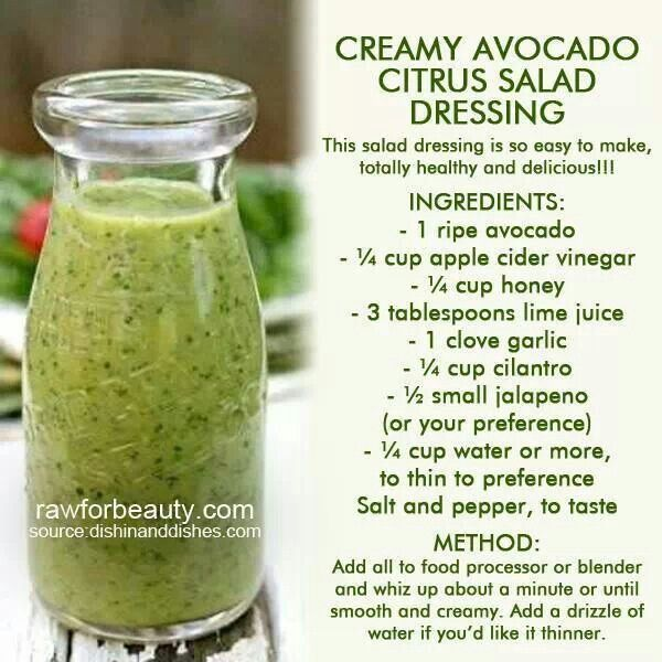Creamy Avocado Citrus Salad Dressing | Clean eating | Pinterest
