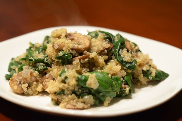 Quinoa with mushrooms and spinach | Mmm Foooood! | Pinterest