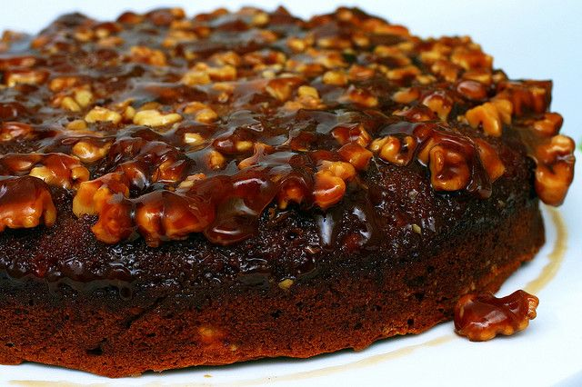 caramel walnut upside down banana cake by smitten, via Flickr