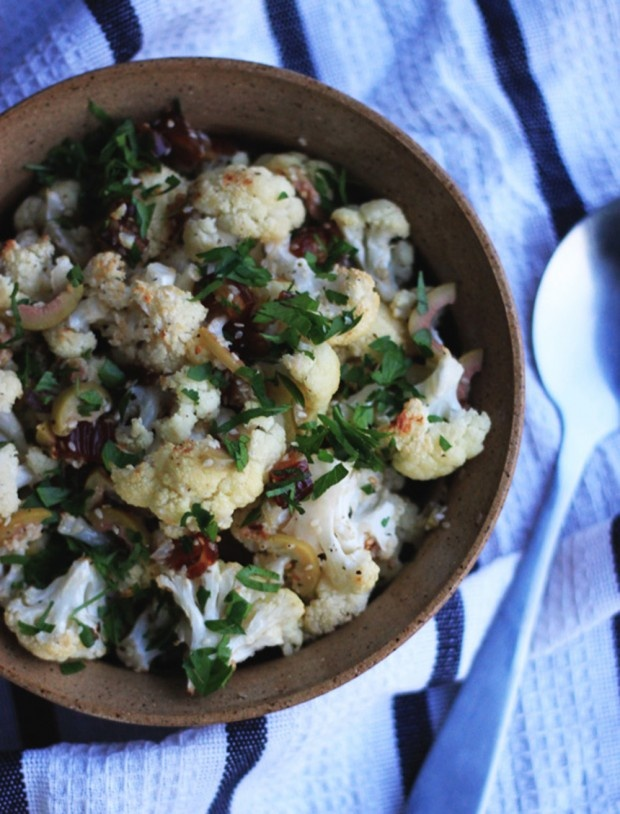 sesame and lemon roasted cauliflower with dates & olives by @Laura ...