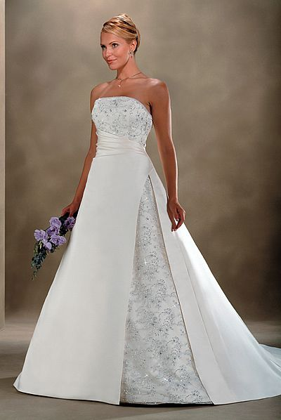 Lace and satin wedding dress cold weather wedding for Wedding dresses for hot weather