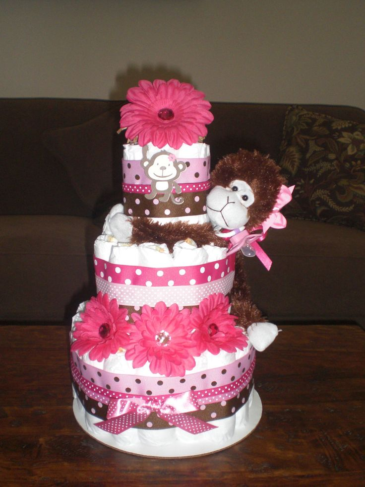 shower diaper cakes monkey girl diaper cake baby shower centerpieces