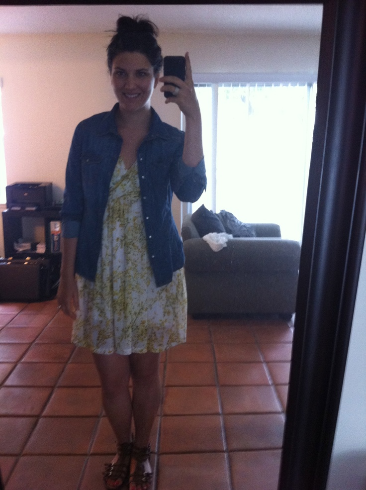 denim shirt over yellow floral H+M dress | What I Wore | Pinterest