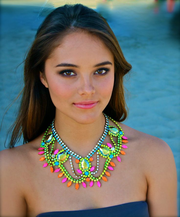 Doloris Petunia, The Classic Neon Crystal Statement Necklace. $390.00, via Etsy.
