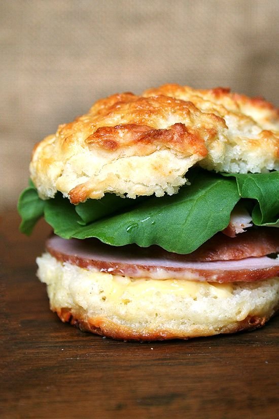 Leftover ham and arugula sandwich on cheddar biscuit with mustard ...