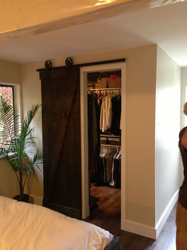 Barn wood closet door walk in walk out pinterest for Walk in closet doors