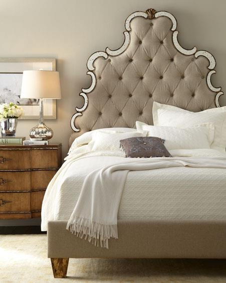 Horchow tufted headboard with mirror accents! I want I want (: