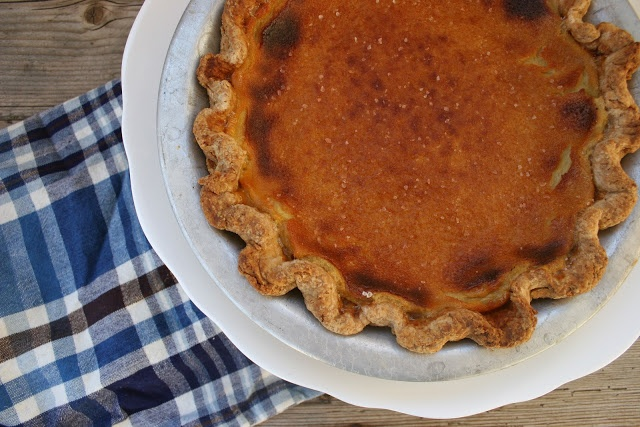 Maple Bourbon Buttermilk Pie with Apple Syrup