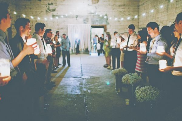 Minimalist decor for industrial chic wedding. so cool. mix of southern and studio space!