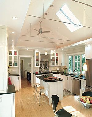Cathedral ceiling kitchen ceilings pinterest for Cathedral ceiling kitchen designs