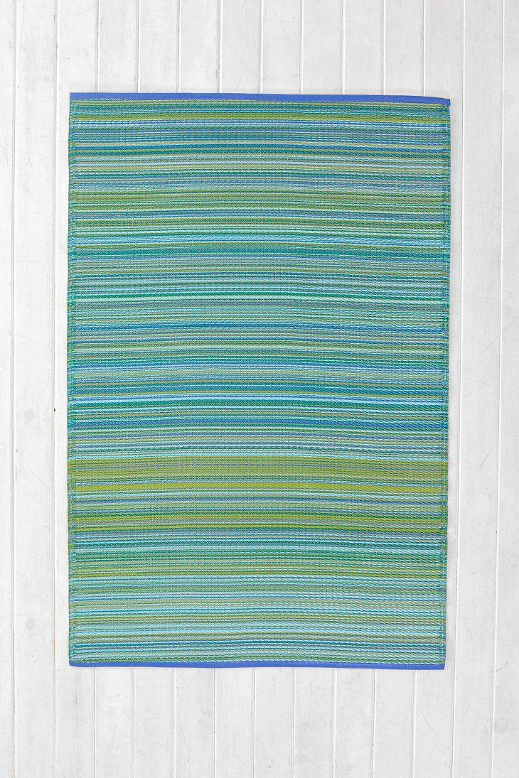 Striped Indoor Outdoor Rug Aqua decor