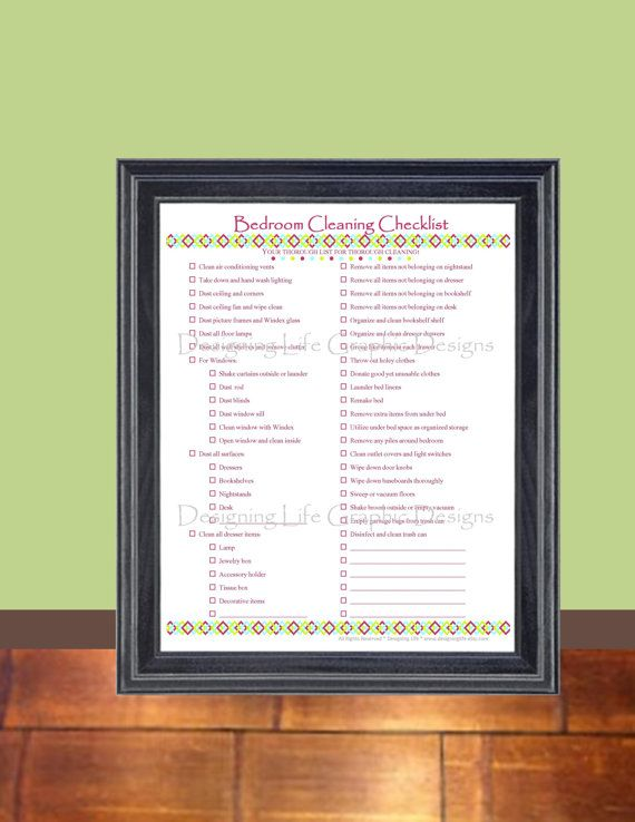 bedroom cleaning checklist pdf printable household