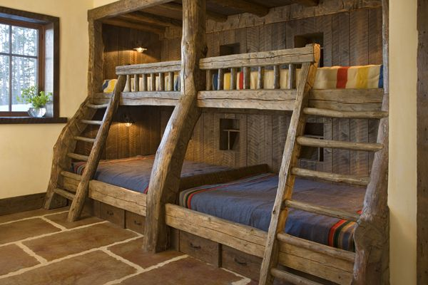 That's a bunk bed. Rustic but awesome. | Stuff to build ...