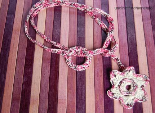 Collana/ cintura uncinetto- stargate rosa