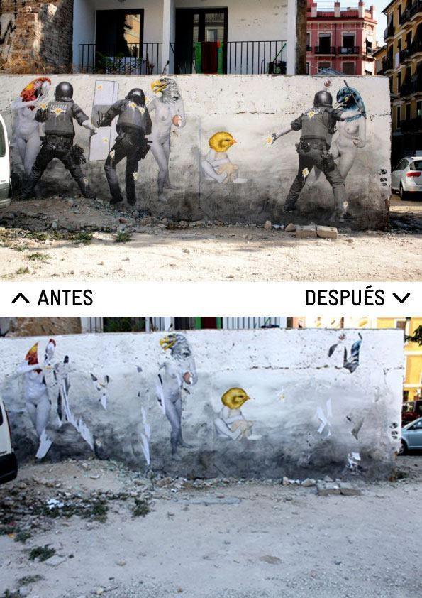 Graffiti de Vinz Feel Free antes y después que lo viera la policía nacional y lo destrozara. Dentro del festival de arte independiente 'Incubarte' http://www.incubarte.org/