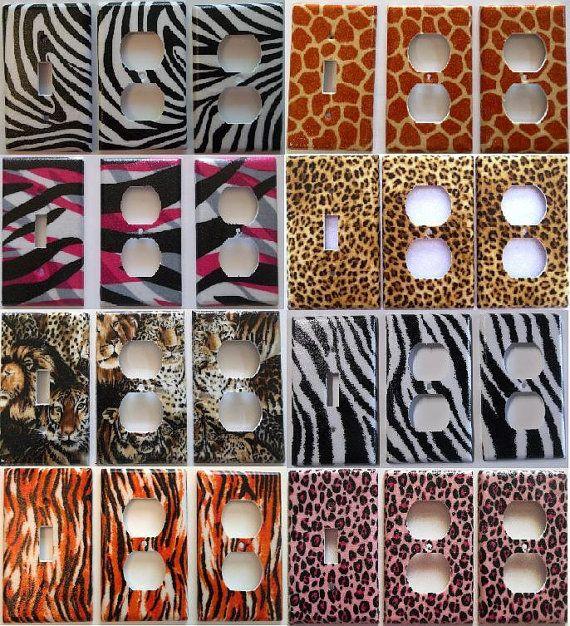 Zebra giraffe pink leopord tiger animal print girls bedroom light swi