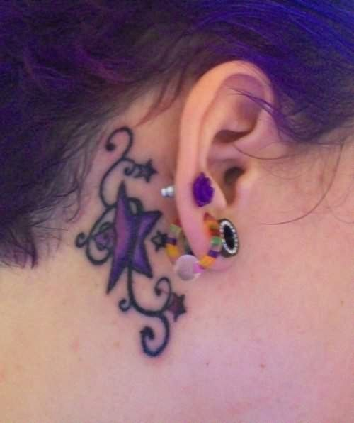 beautiful star tattoo behind ear tattoos pinterest. Black Bedroom Furniture Sets. Home Design Ideas